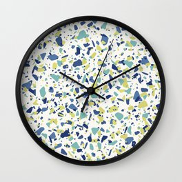 Terrazo in Blue, green and citron Wall Clock