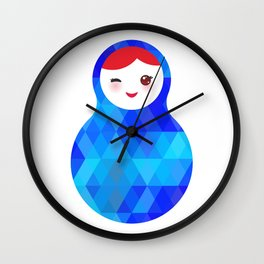 wink Russian doll matryoshka with bright rhombus on white background, blue colors Wall Clock