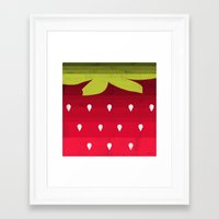 strawberry Framed Art Prints featuring Strawberry by Kakel