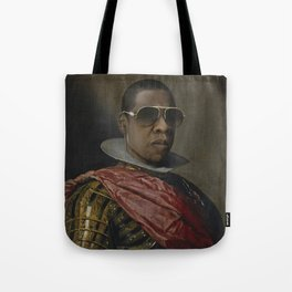 Portrait of Jay Z in Armor Tote Bag