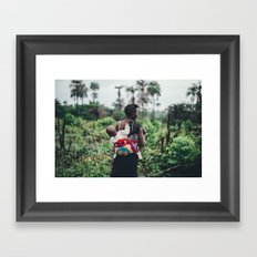 WOMAN - CHILD - FIELD - PHOTOGRAPHY - NATURE Framed Art Print
