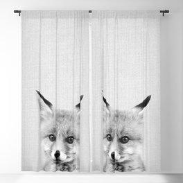 Baby Fox - Black & White Blackout Curtain