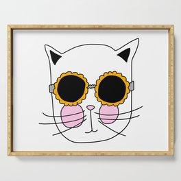 Cat Sunflower Glasses Serving Tray