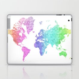 "Rainbow world map in watercolor style ""Jude"" Laptop & iPad Skin"
