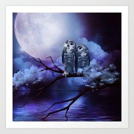 Cute couple owls Art Print