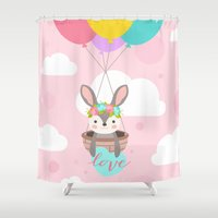 bunny Shower Curtains featuring Bunny by Karla Peña