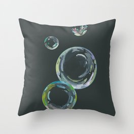 Soap Bubbles on Black Chalkboard Throw Pillow
