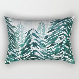 snowy pine forest in green Rectangular Pillow