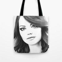 emma stone Tote Bags featuring Emma Stone minimalist digital portrait by Thubakabra