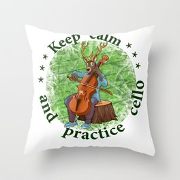 Keep calm and practice cello reindeer Throw Pillow