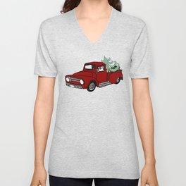 Pit Bull In Old Red Truck With Whimsical Christmas Tree Unisex V-Neck