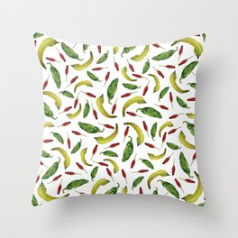 Jalapeno, Banana and Chile Peppers Throw Pillow