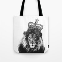 the lion king Tote Bags featuring Lion King by MaNia Creations