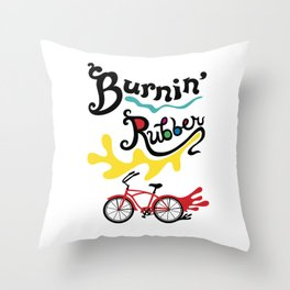Burning Rubber bike Throw Pillow
