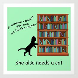 Cats and Books Art Print