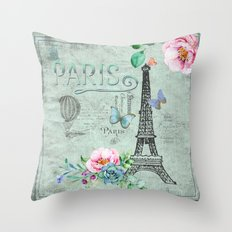 Paris - my love - France Eiffeltower Nostalgy- French Vintage on #Society6 Throw Pillow