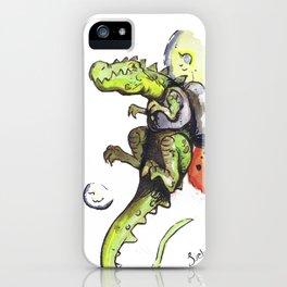 Dinosaur wearing Jetpack iPhone Case