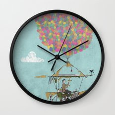 Riding A Bicycle Through The Mountains Wall Clock