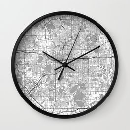 Orlando Map Line Wall Clock