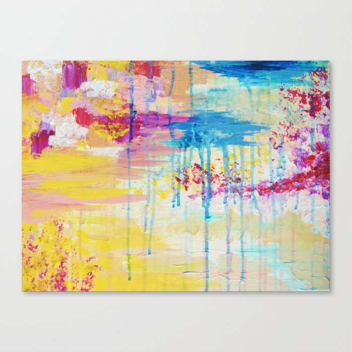 Brighter Days Beautiful Soft Pastel Colours Painting Rain Cloud Sunny Sky Abstract Nature Acrylic Canvas Print