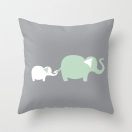 Mom and Baby Elephant Throw Pillow
