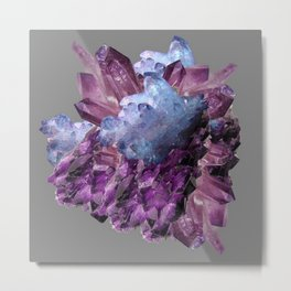 PURPLE AMETHYST WHITE QUARTZ CRYSTALS Metal Print