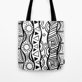 Four Waves - Freestyle Tribal Doodle Design Tote Bag