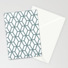 Aqua and White Geometric Tessellation Pattern 16 Pairs 2021 Color of the Year Aegean Teal Stationery Cards