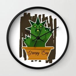 Cactus Grumpy Boy Wall Clock
