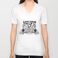 boxing V-neck T-shirts featuring Unicorn Boxing by Kellabell9