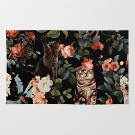 Cat and Floral Pattern II Rug