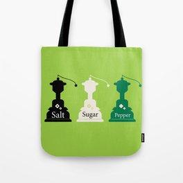 Beautiful colorful Salt, Sugar and Pepper set Tote Bag