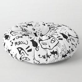 meow meow meow black Floor Pillow