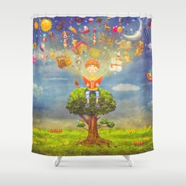 Little boy sitting on the tree and  reading a book, objects flying out Shower Curtain