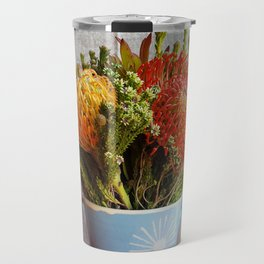 Flowers in a vase - with Pincushion Protea Travel Mug