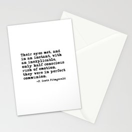 Their eyes met and in an instant - Fitzgerald quote Stationery Cards