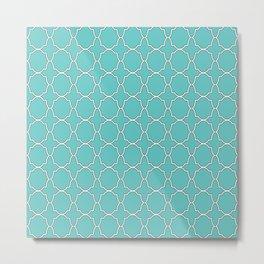 Turquoise Blue Quatrefoil Pattern Metal Print