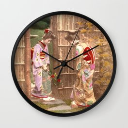 Japanese women walking on stepping stones Wall Clock