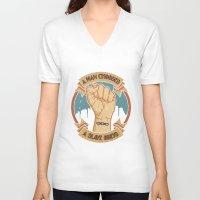 bioshock infinite V-neck T-shirts featuring Bioshock a man, a slave by sgrunfo