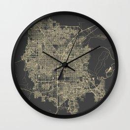 Las Vegas Map #1 yellow Wall Clock