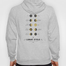 The Lunar Cycle • Phases of the Moon – Black & Gold Palette Hoody
