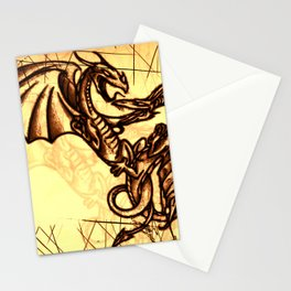Battling Dragons - Mythical Creatures Stationery Cards