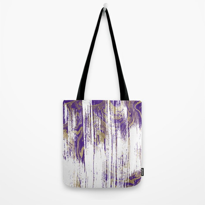 Elegant purple watercolor faux gold marble pattern Tote Bag