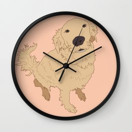 Golden Retriever Love Dog Illustrated Print Wall Clock