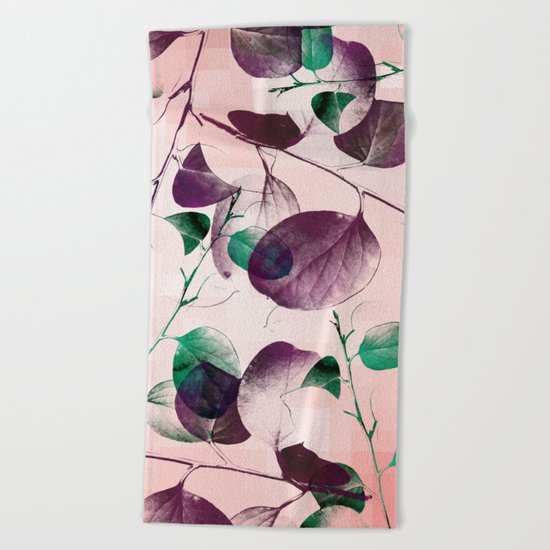Spiral Eucalyptus Leaves Beach Towel