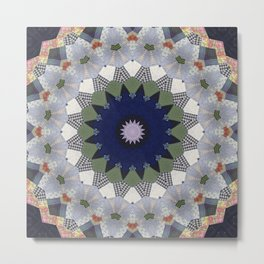 Patchwork Whimsy -- Vintage Block Quilt Mandala Kaleid0scope Metal Print