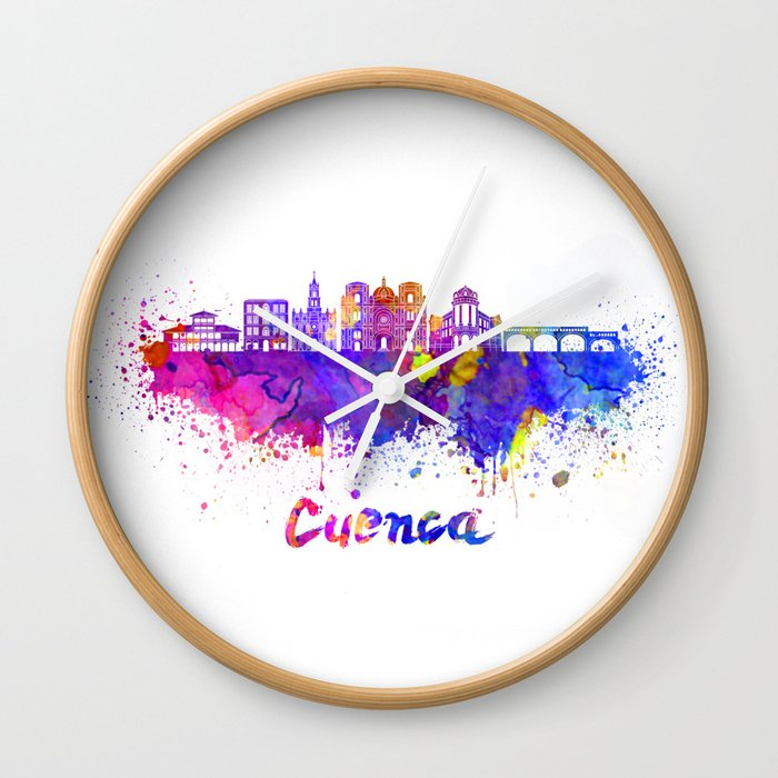 Cuenca EC skyline in watercolor Wall Clock
