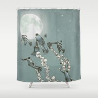 men Shower Curtains featuring Flight of the Salary Men (color option) by Eric Fan