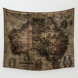 Vintage Map of Australia Wall Tapestry