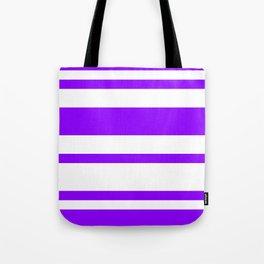 Mixed Horizontal Stripes - White and Violet Tote Bag